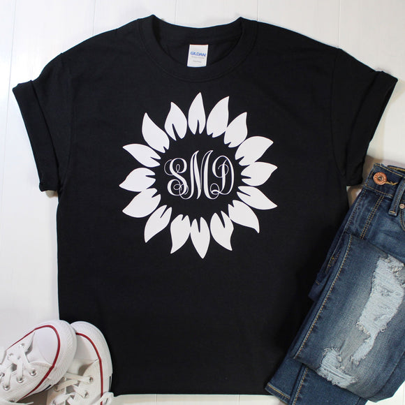 Personalized Sunflower Monogrammed Tee