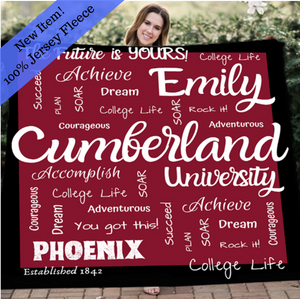 Personalized University Sweatshirt Blanket - 100% Jersey Knit Fleece