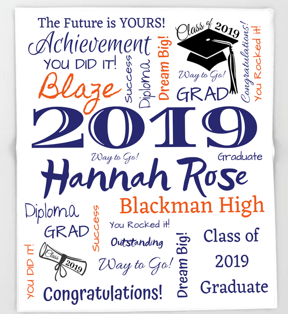 Personalized Graduation Blanket - 100% Fleece