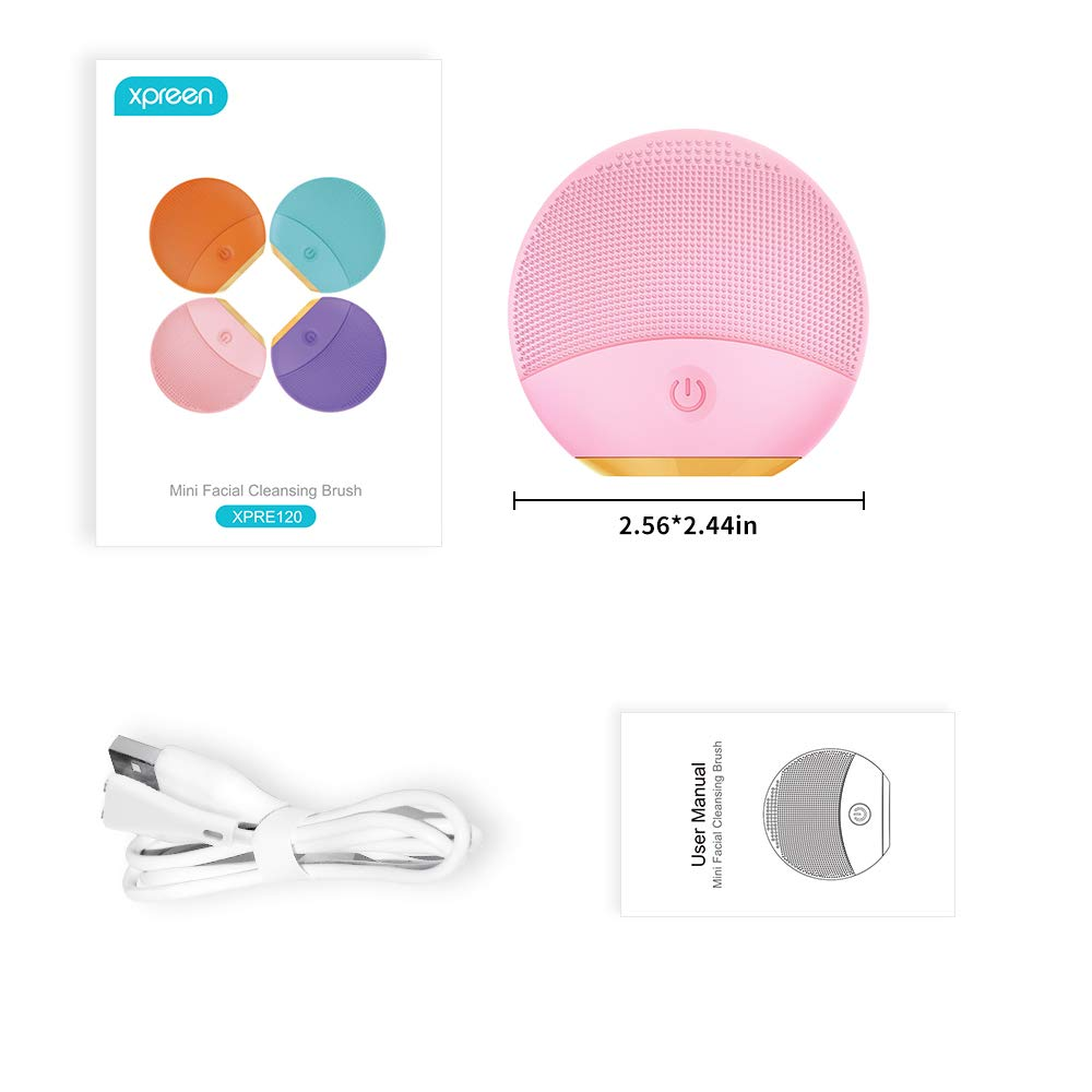 Silicone Facial Cleansing Brush, Xpreen Electric Sonic Facial Cleansing Brush - Waterproof Face Brushes for Cleansing and Exfoliating - Silicone Face Cleaner