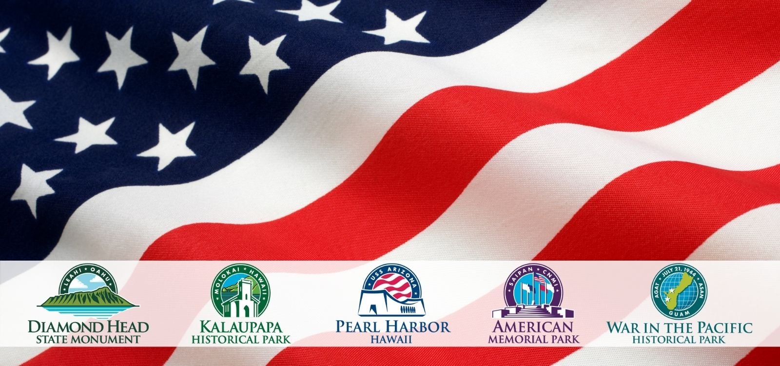 US flag with icons for national parks