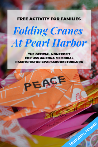 Free activity at Pearl Harbor, Oahu, Hawaii. Folding cranes of peace.