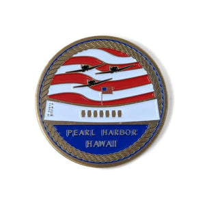 USS Arizona Memorial And Armed Forces Gold-Brushed Challenge Coin, 42 mm