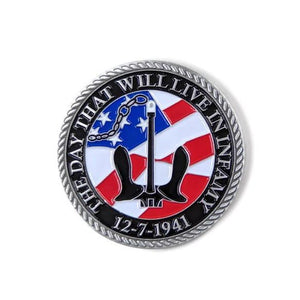 USS Arizona Anchor Black And Silver-Brushed Challenge Coin, 39 mm