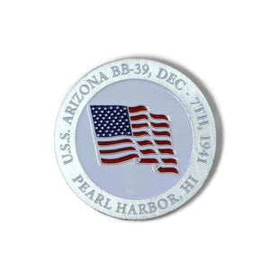 American Flag And Compass Brushed-Silver Challenge Coin, 39 mm