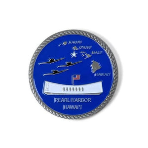 Day of Infamy Blue And Silver-Brushed Challenge Coin, 39 mm