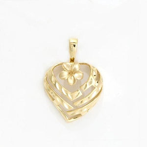 Aloha Heart With Plumeria Pendant, 14K Yellow Gold 18 mm
