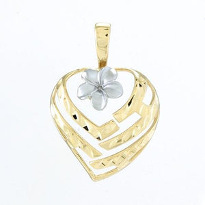 Aloha Heart With Plumeria Pendant, 14K Yellow And White Gold 18 mm