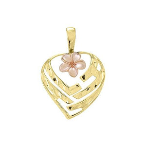 Aloha Heart With Plumeria Pendant, 14K Yellow And Rose Gold 18 mm