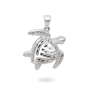 Turtle Honu And Heart Pendant Or Charm With Chain, Sterling Silver 19 mm