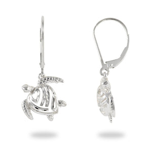 Turtle Honu And Heart Lever Back Earrings, Sterling Silver 14 mm