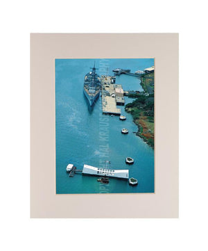 USS Arizona Memorial and USS Missouri 5x7 Matted Photo
