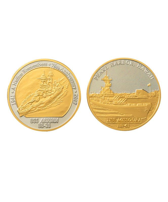 76th Commemorative Pearl Harbor Coin Set Proof Nickel and Gold Select