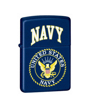 Genuine Zippo Lighter - U.S. Navy, Matte Blue