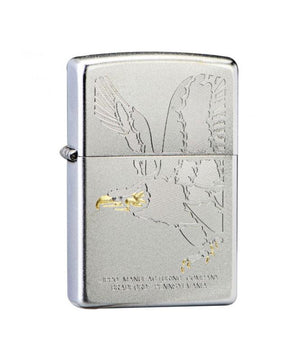 Genuine Zippo Lighter, Satin Chrome Eagle