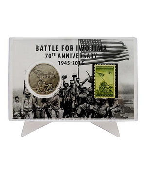 Battle for Iwo Jima 70th Anniversary Coin in Acrylic Case