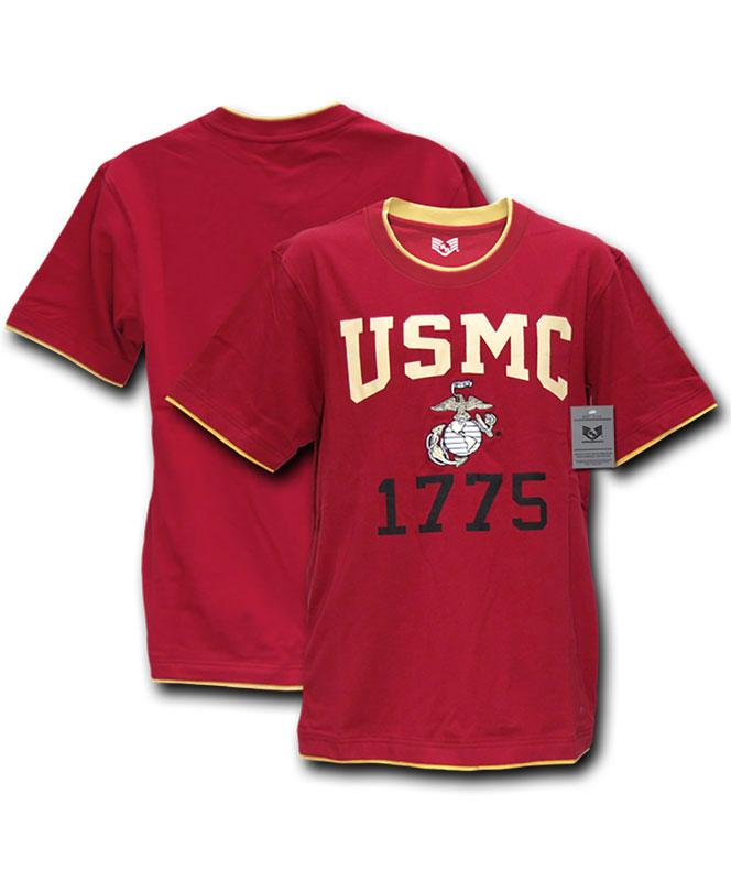 Men's Marine Corps with Double Layer T-Shirt, Cardinal Red