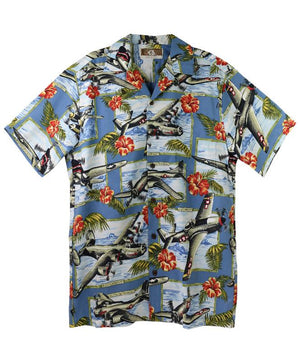 Men's War Planes Aloha Shirt, Blue