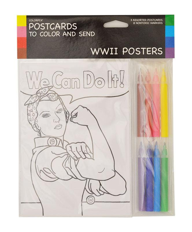 WWII Poster Postcards to Color and Send