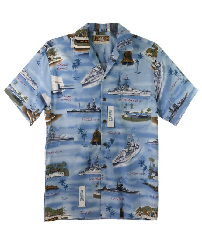 a61a37bc5373c1 Men's Pearl Harbor Aloha Shirt, Blue – Pacific Historic Parks Bookstore