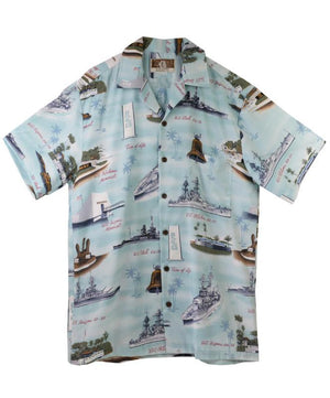 Men's Pearl Harbor Aloha Shirt, Aqua Blue