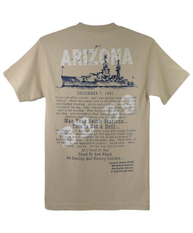 Men's USS Arizona Oral History T-shirt, Tan