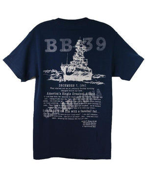 Men's USS Arizona Oral History T-shirt, Navy Blue