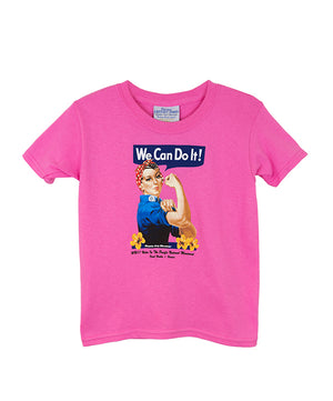 Girl's Rosie the Riveter T-shirt, Pink