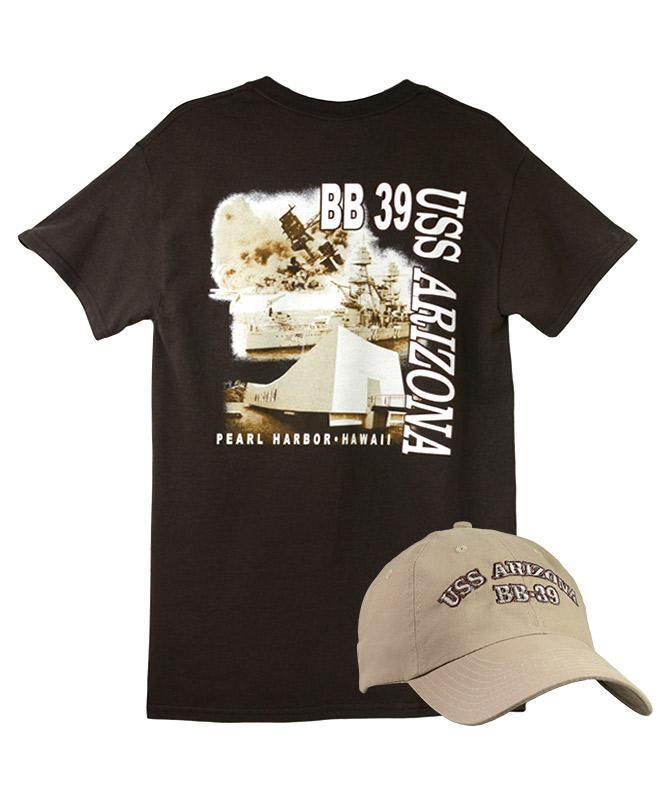 Men's USS Arizona Cap and T-shirt Combo, Khaki