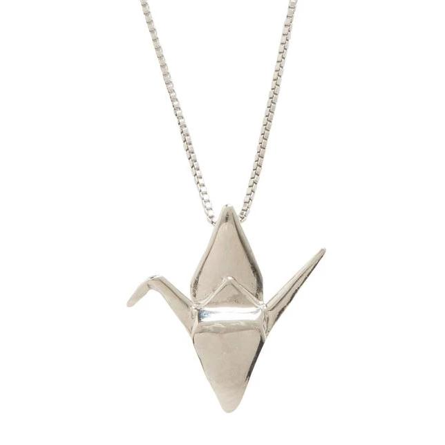 Sadako Sasaki Crane Wing Down Pendant Necklace, Sterling Silver