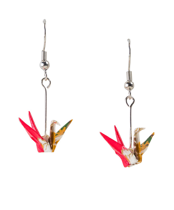 Origami Paper Crane Earrings