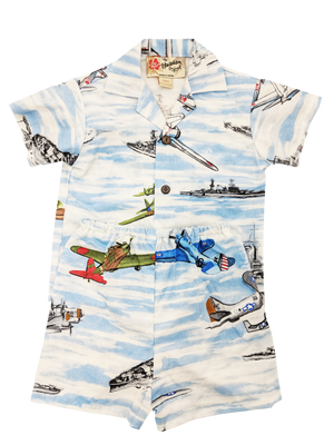 Toddler Ships & Planes Aloha Shirt w/Matching Shorts