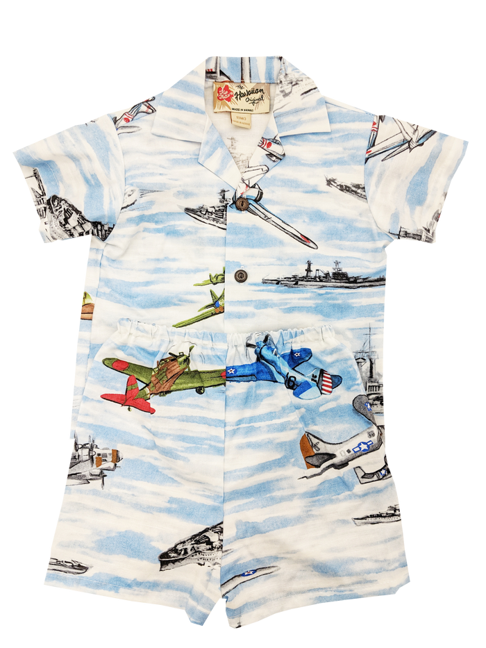 Toddler Ships & Planes Aloha Shirt with Matching Shorts