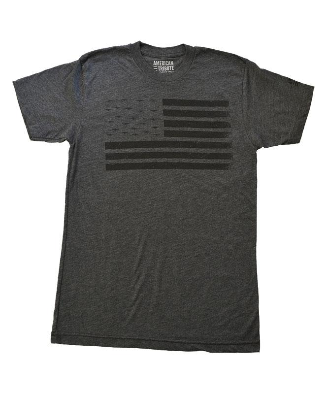 Men's American Tribute Brand Flag Plane T-Shirt, Dark Gray
