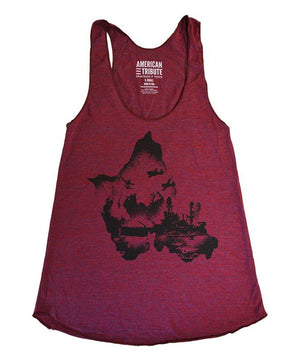 Woman's American Tribute Brand Battlefield Oahu Tank Top, Burgundy