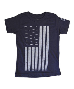 Kid's American Tribute Brand Flag T-shirt, Navy Blue
