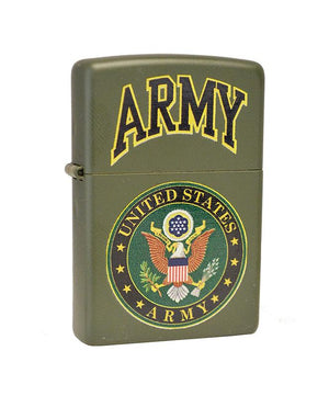 Genuine Zippo Lighter - U.S. Army, Green Logo