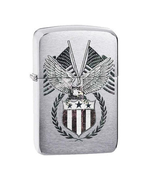 Genuine Zippo Lighter - American Eagle and Two American Flags