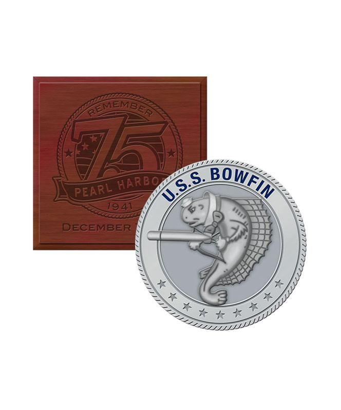 75th Silver Challenge Coin USS Bowfin with Box