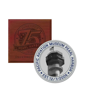75th Silver Challenge Coin Pacific Aviation Museum with Box