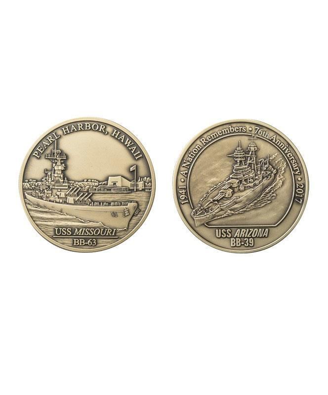 76th Commemorative Pearl Harbor Coin Set, Antique Nickel