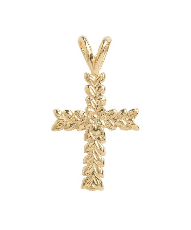 Hawaiian Leaf Cross Pendant 14K Gold