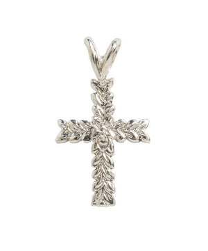 Hawaiian Leaf Cross Pendant Sterling Silver