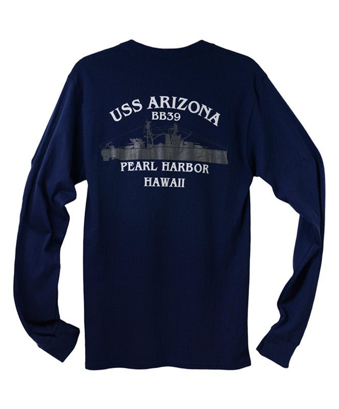 Men's USS Arizona BB39 Long Sleeve T-Shirt, Navy Blue