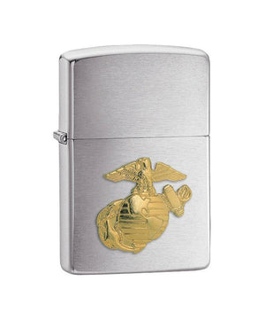 Genuine Zippo Lighter - USMC, Brushed Chrome