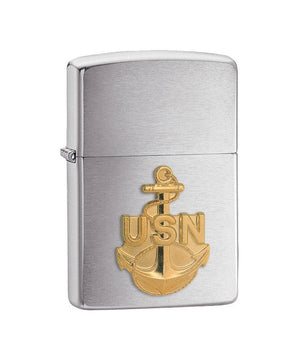 Genuine Zippo Lighter - U.S. Navy, Brushed Chrome
