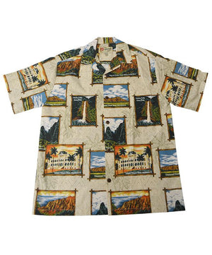Official Hawaii State Parks Men's Aloha Shirt, Natural Color