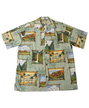Official Hawaii State Parks Men's Aloha Shirt, Sage Green