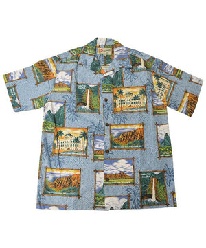 Official Hawaii State Parks Men's Aloha Shirt, Slate Blue