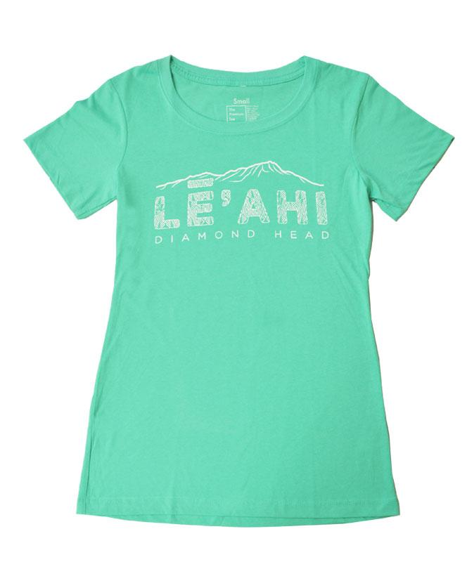 Woman's Diamond Head (Leahi) Etched T-shirt, Tiffany Blue